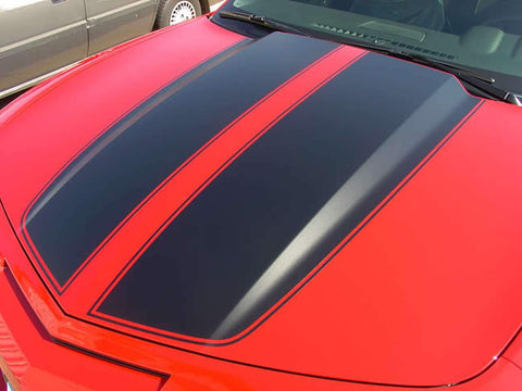 Dodge Camaro Rally Sport Stripes Hood & Trunk Decals | Gloss Black | 2010-2013