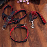 Adjustable Denim No Pull Dog Collar, Harness, & Leash Red