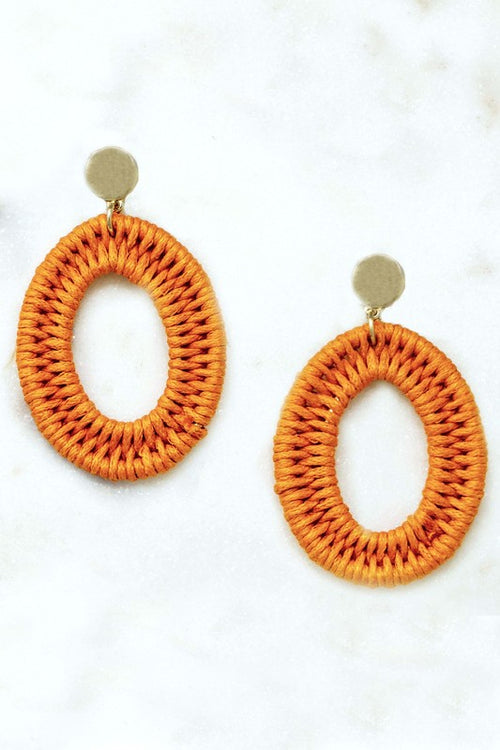 Woven Straw Oval Hoop Earrings-Orange