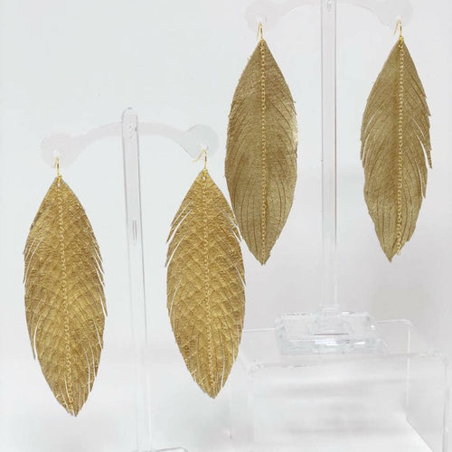 Gold Leather Leaf Earrings-ETA March 20, 2021