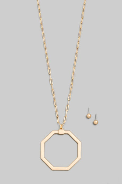Octagon Shaped Long Necklace