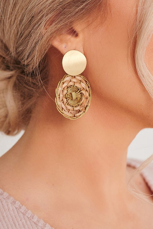 Antique Gold Earring with Weave Detail