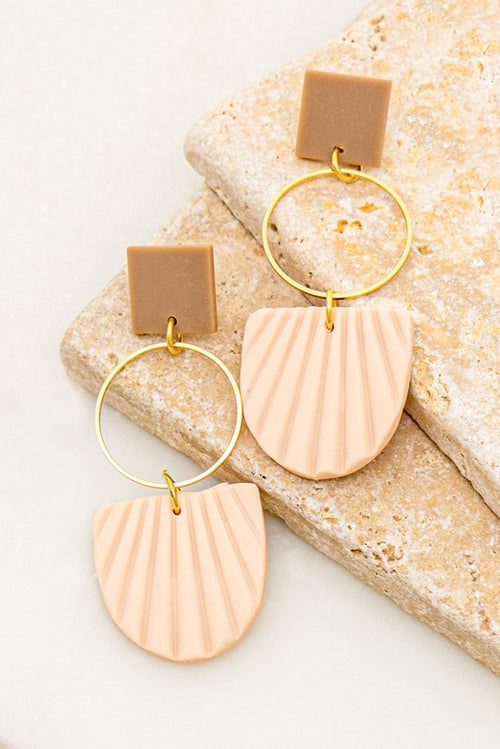 Polymer Clam Shell and Square Linear Earrings