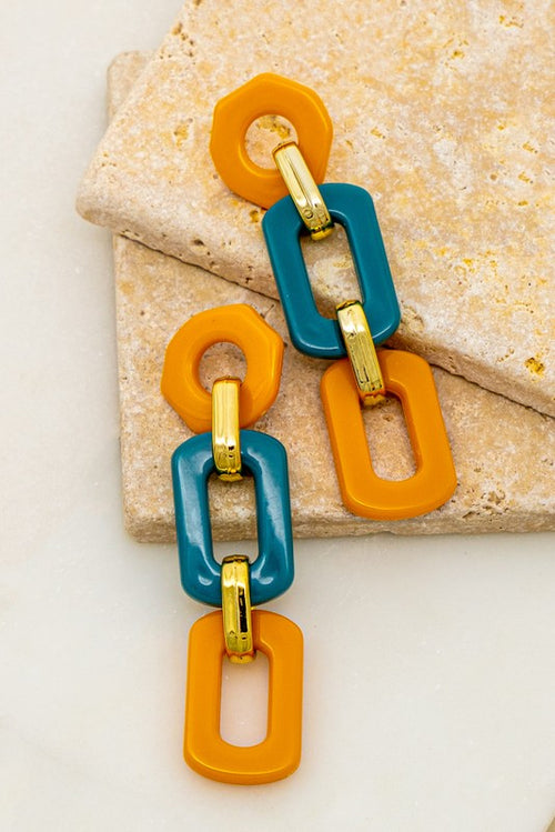 Multi color linked rectangle hoop earrings