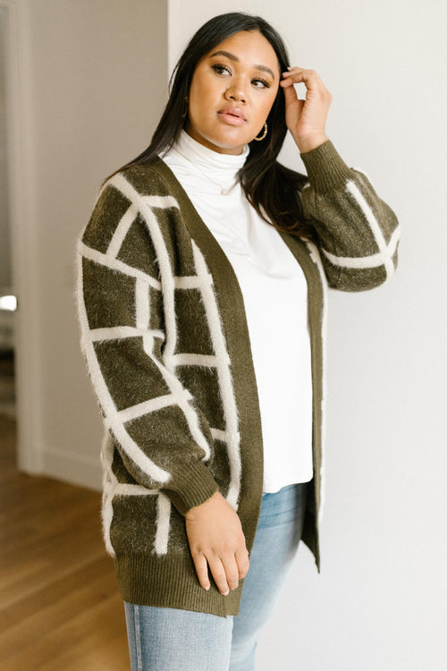 Bold Lines Cardigan in Olive