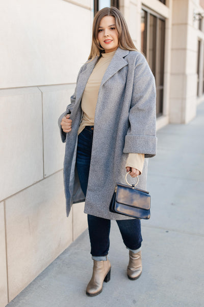 Deconstructed Oversized Trench Coat in Stone Gray