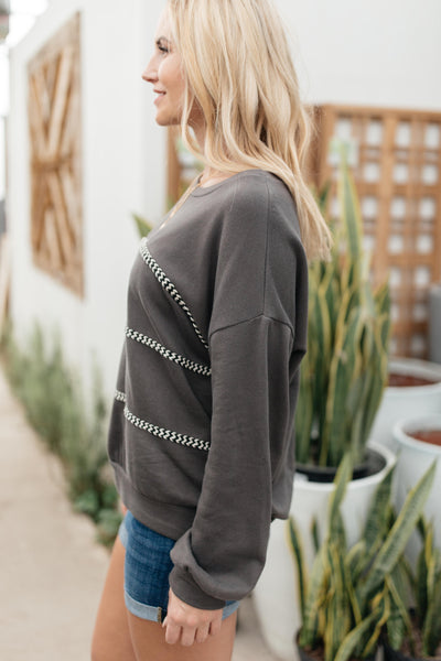 Stitched Together Pullover in Charcoal