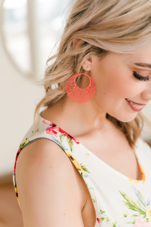 Dream Weaver Coral Earrings-