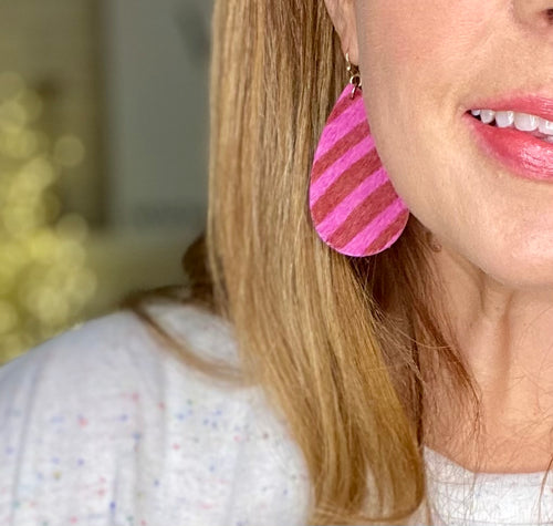 Handmade Pink Stripe Teardrop Earrings- Lightweight