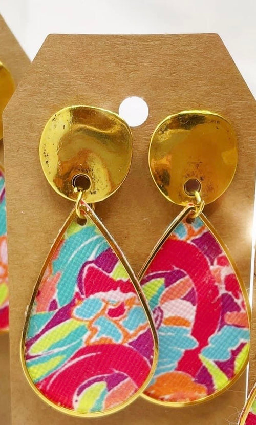 Colorful Teardrop- Leather Earring-Two Sizes-This is the Smaller
