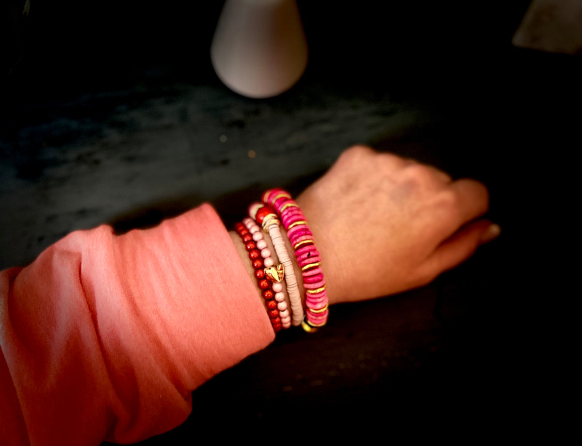 Pink Themed Handmade Stackable Beaded Stretchy Bracelet