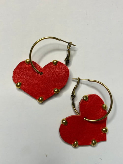 Studded Leather Heart Shaped Earrings