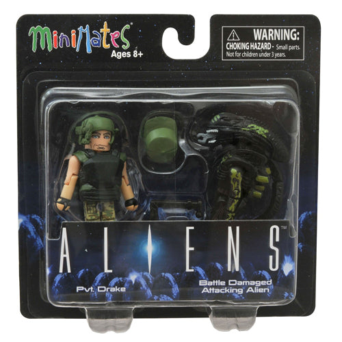 Minimates Aliens - Private Drake & Battle Damaged Attacking Alien 2