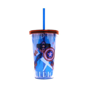 Marvel Captain America Deco Plastic Cold Cup with Lid and Straw, 16-Ounces