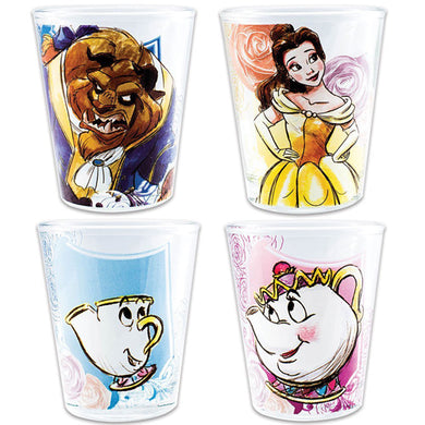 Disney Beauty And The Beast Shot Glasses - Belle, Chip Mrs. Potts 4-Pack