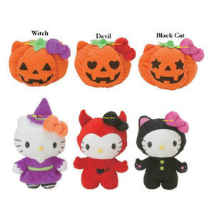 "Hello Kitty 8"" Reversible Plush Set - Includes All 3 Designs~ Halloween Witch , Devil , Black Cat"
