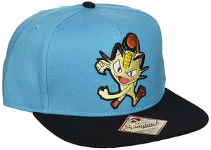 Pokemon Meowth Embroidered Turquoise Snapback Cap