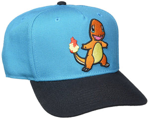 Pokemon Charmander Embroidered Blue Snapback Cap Hat