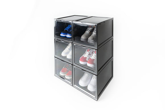 SNKR & SOLE SNEAKER STORAGE BOX (BLACK) - 6 PACK BUNDLE (FREE SHIPPING)