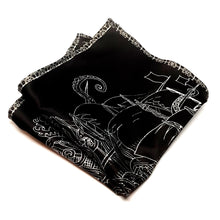 Giant Squid Attacking a Ship - Silk Black and White Pocket Square-pocket square-Society Gent
