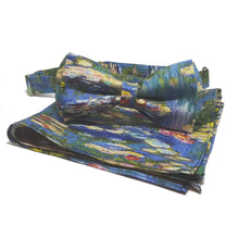 "Monet ""Waterlilies"" Pre-tied Bow Tie and Pocket Square Set-pocket square-Society Gent"