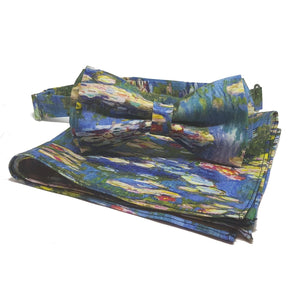 "Monet ""Waterlilies"" Pre-tied Bow Tie-pocket square-Society Gent"