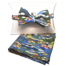 "Monet ""Waterlilies"" Self-Tie Bow Tie and Pocket Square Set-pocket square-Society Gent"