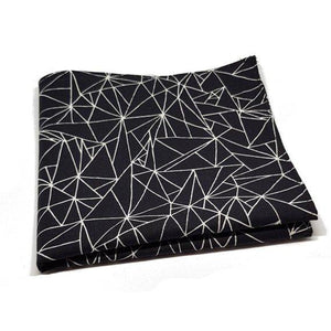 Black Geometric Bow Tie and Pocket Square Set-sets-Society Gent