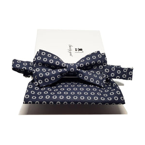Blue and Silver Foulard Bow Tie and Pocket Square Set-sets-Society Gent