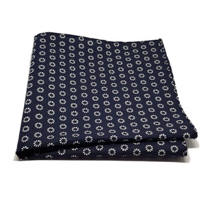 Blue and Silver Foulard Pocket Square-pocket square-Society Gent