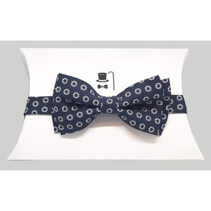 Blue Foulard Floral Pre-Tied Bow Tie-bow ties-Society Gent