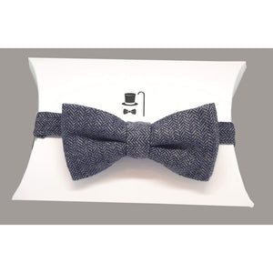 Blue Grey Herringbone Tweed Pre-Tied Bow Tie-bow ties-Society Gent