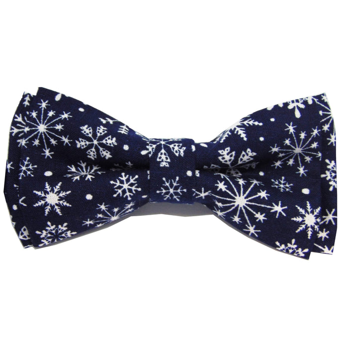 Blue Snowflake Christmas Bow Tie-bow ties-Society Gent
