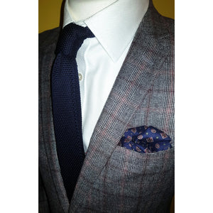 The Westminster - Blue Self Tied Bow Tie and Pocket Square Set-pocket square-Society Gent