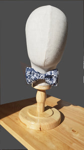 Navy and Silver Floral Pre Tied Bow Tie