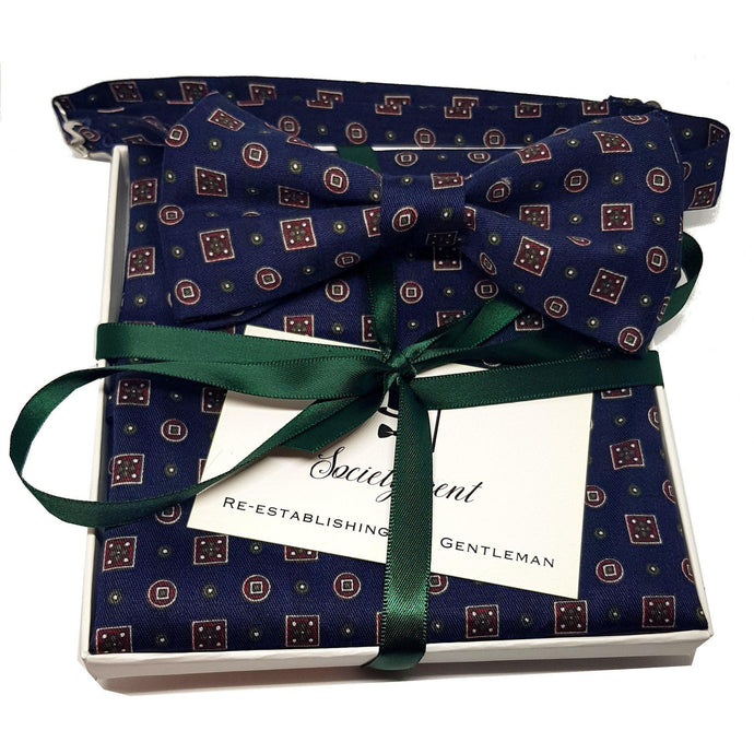 The Westminster - Blue Pre-Tied Bow Tie and Pocket Square Set-sets-Society Gent