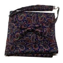 Navy Blue Paisley Bow Tie and Pocket Square Set - Pre-Tied