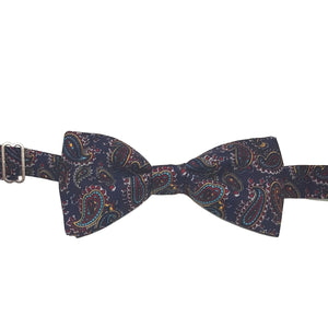 Navy Blue Paisley Bow Tie - Pre-Tied-bow ties-Society Gent