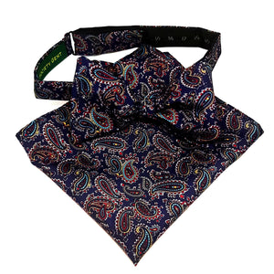 Navy Blue Paisley Bow Tie and Pocket Square Set - Self Tie-bow ties-Society Gent