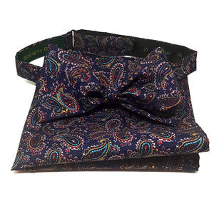 Navy Blue Paisley Bow Tie and Pocket Square Set - Self Tie