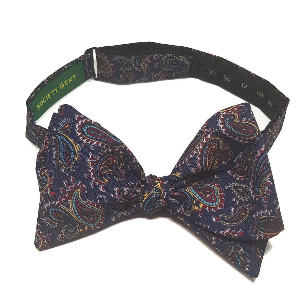 Navy Blue Paisley Bow Tie - Self Tie-bow ties-Society Gent