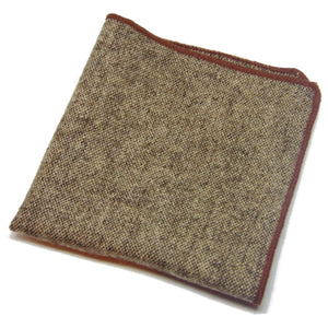 Brown Wool Pocket Square with Brown Shoestring Hem-pocket square-Society Gent