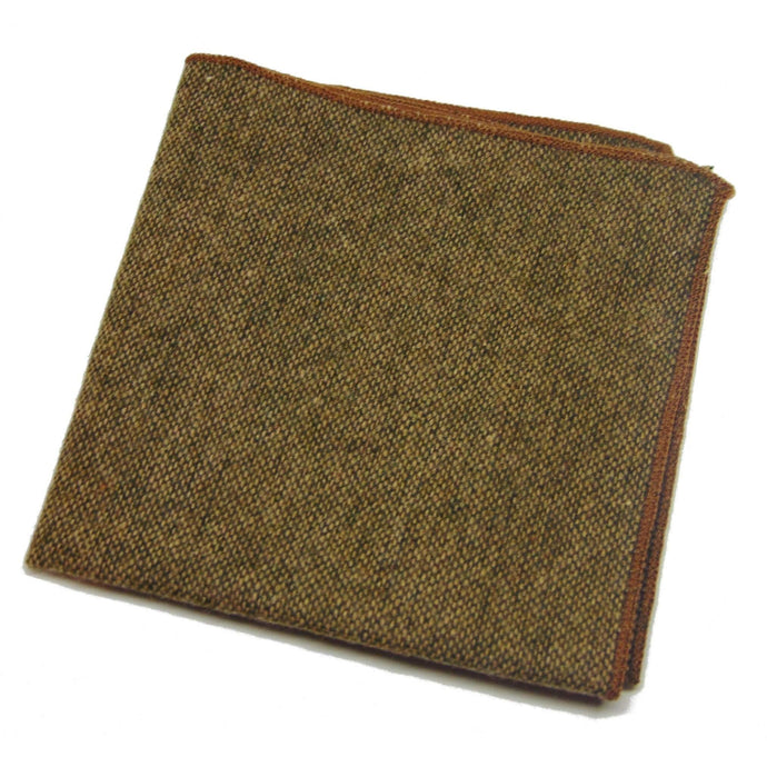 Brown Wool Pocket Square with Orange Shoestring Hem-pocket square-Society Gent