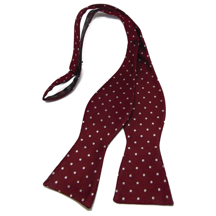 Burgundy and White Dotted Self-Tie Bow Tie-bow ties-Society Gent