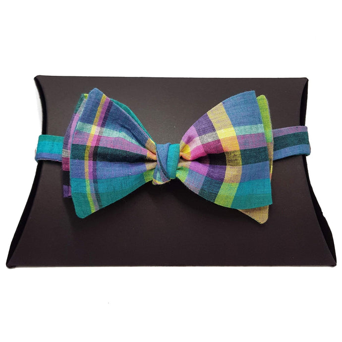 Checked Tartan Self Tie Bow Tie-bow ties-Society Gent