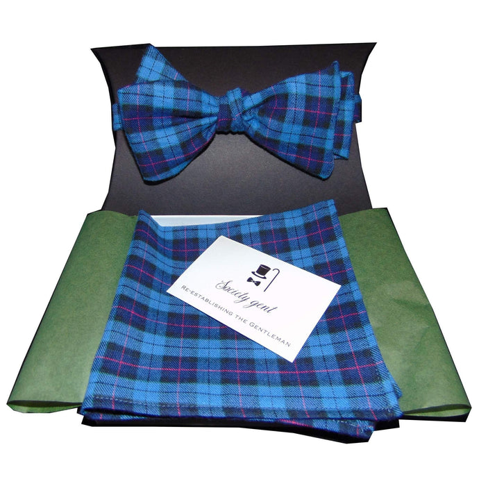 Cranleigh Blue and Pink Self-Tie Bow Tie and Matching Pocket Square-bow ties-Society Gent