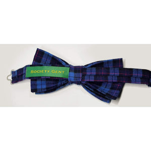 Cranleigh Blue and Pink Tartan Pre-Tied Bow Tie-bow ties-Society Gent