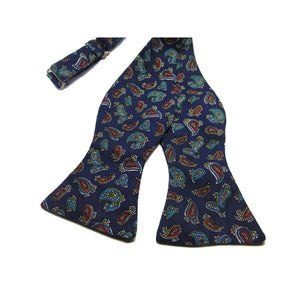 Dark Blue Paisley Self-Tie Bow Tie-bow ties-Society Gent