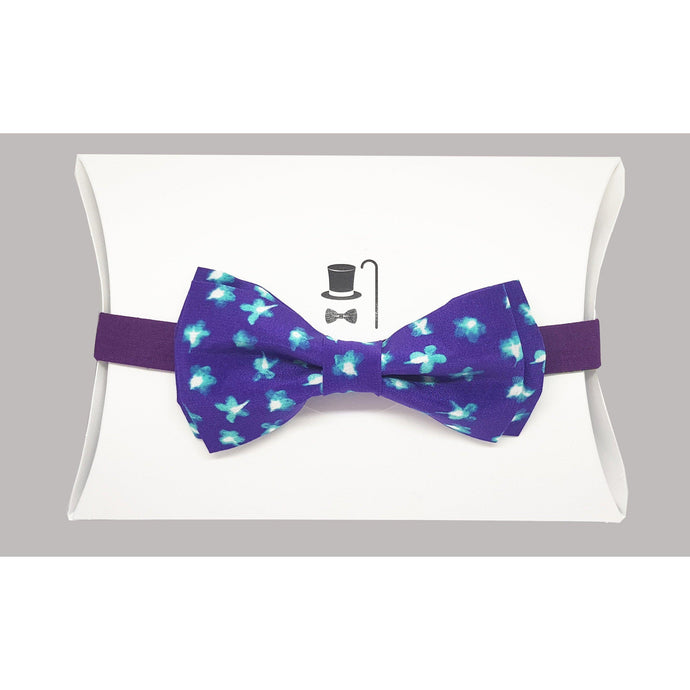 Dark Lilac with Blue Flowers Pre-Tied Bow Tie-bow ties-Society Gent