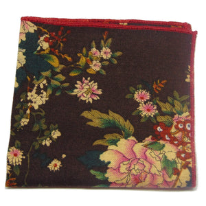 "Dark Plum Floral ""Shoestring"" Pocket Square-pocket square-Society Gent"